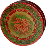 Christmas Poinsettia Candy Cookie Tin - Tindeco 1930s