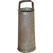 Small 1901 Tin Cylinder Grater - Candle Holder