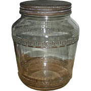 SALE Large Pantry Jar Canister - Tin Lid - 1930s Anchor Hocking