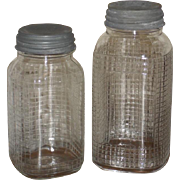 2 1930s Glass Pantry Jars - Zinc Lids