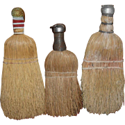 Group of  3 Primitive Old Whisk Brooms
