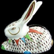SOLD Porcelain Rabbit Figurine Fishnet Style Hollohaza Hungary Hand Painted