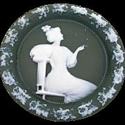 Vintage German Jasperware Plaque Sage Green White