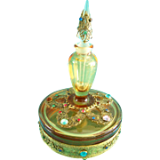 SALE Vintage Perfume Bottle Powder Jar Combo Boxtle Rare 1920s Jeweled Amber Glass
