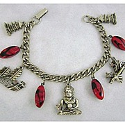 REDUCED Vintage Asian Motif & Art Glass Charm Bracelet