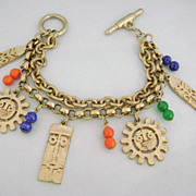 REDUCED Vintage Tribal Mask Charm Bracelet