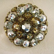 REDUCED Sparkling Silver & Gold Crystal VENDOME Brooch