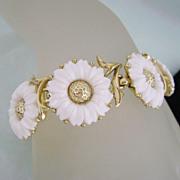 REDUCED Vintage TRIFARI Lucite Daisy Flower Bracelet & Earrings