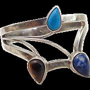 REDUCED Estate Sterling Silver Modernist Multi-Gem Flower Bracelet Signed Mexico