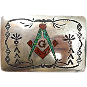 Vintage Sterling Silver Masonic Native American Turquoise Coral Belt Buckle Signed
