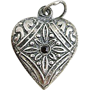 REDUCED Vintage Repousse Red Stone Sterling Silver Puffy Heart Charm