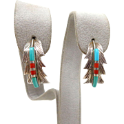 Vintage Native American Navajo Sterling Silver Turquoise Coral Feather Earrings