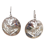 "REDUCED Vintage Sterling Silver Artisan Signed ""Goldenseal"" Earrings"
