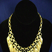 REDUCED Vintage CAROL DAUPLAISE Modernist Feather Bib Necklace w/tag