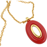REDUCED Vintage TRIFARI Mod Red Lucite Necklace