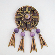 REDUCED Vintage Mid-Century MAYA MEXICO Copper & Brass Purple Bead Pin Pendant