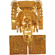 REDUCED Vintage Ornate 18K Gold Aztec God Mask Pin Pendant