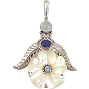 Fabulous SAJEN Sterling Silver Moonstone Iolite Topaz Mother of Pearl Flower Pendant