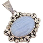 REDUCED Vintage Signed Mexico Sterling Silver Blue Lace Agate Pendant