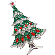 REDUCED Unsigned Beauty Rhinestone Christmas Tree Pin
