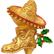 REDUCED Vintage COREL Holiday Mexican Sombrero and Boot Pin