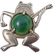 REDUCED Early Mexico Silver Frog Playing A Banjo Green Belly Pin