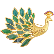 REDUCED Vintage TRIFARI Plique a Jour Stained Glass Peacock Pin