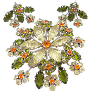 REDUCED Vintage Large SCHREINER Inverted Unfoiled Rhinestone Floral Brooch & Earrings