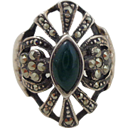 REDUCED Estate Sterling Marcasite Green Chrysoprase Ring Sz 7