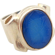 REDUCED Estate Unique Sterling Silver Blue Chalcedony Carved Intaglio Soldier Ring Sz 6.5