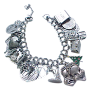 Loaded Sterling Silver Charm Bracelet - 25 Charms