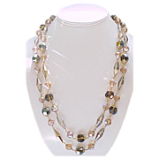 02 - Stunning 2 Strand Crystal Necklace, Earrings Champagne, Gold Plated