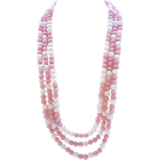 Glass Bead Necklace - Pretty in Pink & White - Signed Deauville