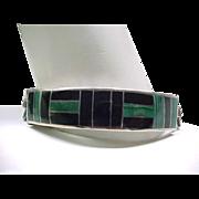 Men's Massive Sterling Bracelet, Ring Onyx, Malachite Inlay