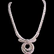 06 - Trifari Silvertone Necklace - Small Pendant, High Design