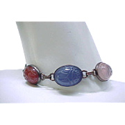 Excellent Scarab Bracelet with 7 Scarabs - Natural Stone