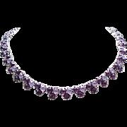Trifari Rhinestone Necklace, Bracelet - 2 Shades of Purple - Gorgeous