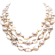 Beautiful Trifari Necklace, Bracelet- 3 Strands of Beads, Champagne Faux Pearls, More...