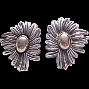 Substantial Sterling Silver Earrings - Flower - signed JBM