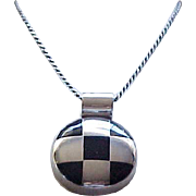 Gorgeous Sterling and Onyx Pendant Necklace with Sterling Chain