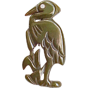 Awesome Bakelite Heron - Well Carved - Olive Green