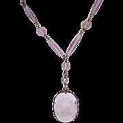 Exquisite Czech Necklace - Y-Shape - Purple Glass Beads