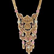 Egyptian Revival Goldette Necklace - Unsigned