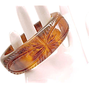 Wide Deeply Carved Bakelite Bracelet - Tortoiseshell Color