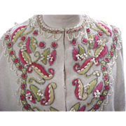 Vintage Lamb's Wool Sweater Made in Hong Kong - Embroidery & Faux Pearls