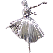 Graceful Sterling Silver Ballet Pin by Lang