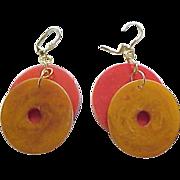 Vintage Red & Butterscotch Bakelite Earrings - Pierced Ears