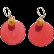 Vintage Red Bakelite Earrings with Butterscotch Beads - Pierced Ears