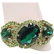 Elegant Rhinestone Clamper Bracelet with Large Earrings - Green, Peridot