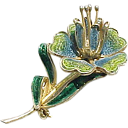 Plique a Jour Flower Pin - Numbered
